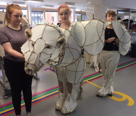 Polar Bear made for the 'Carnival by the Sea Parade' by Sophie Fretwell on AUB's Costume and Performance Design Course
